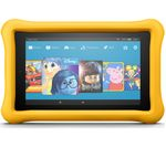 £99.99, AMAZON Fire 7 Kids Edition Tablet (2017) - 16 GB, Yellow, 2 year accidental damage guarantee included, Fire OS, 171 pixels per inch, MediaTek MT8127 Processor, Apps available from Amazon Appstore,