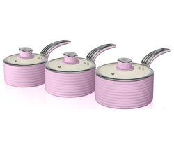 SWAN Retro SWPS3020PN 3-piece Non-stick Saucepan Set - Pink