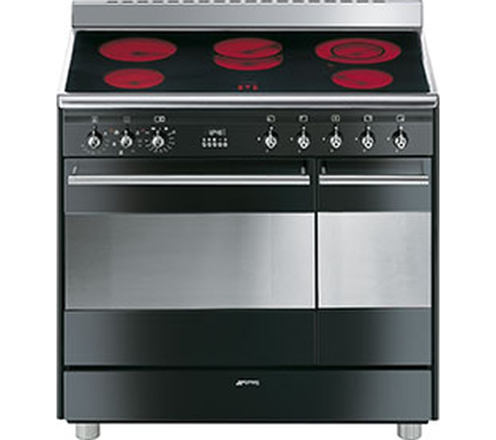 Image of SMEG Concert 90 cm Electric Ceramic Range Cooker - Black & Stainless Steel, Stainless Steel