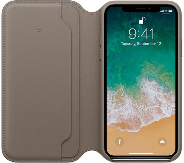 low priced e373b 1ad06 APPLE iPhone X Leather Case - Taupe