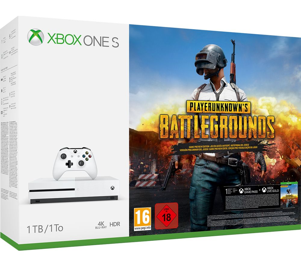 Image of MICROSOFT Xbox One S with PlayerUnknown's Battlegrounds, Gold