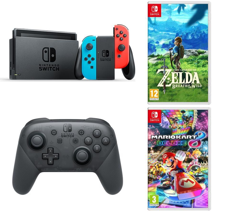 Buy Nintendo Switch Neon Red Pro Controller Mario Kart 8 Legend Blue Bundle 2games 2amiibo Of Zelda