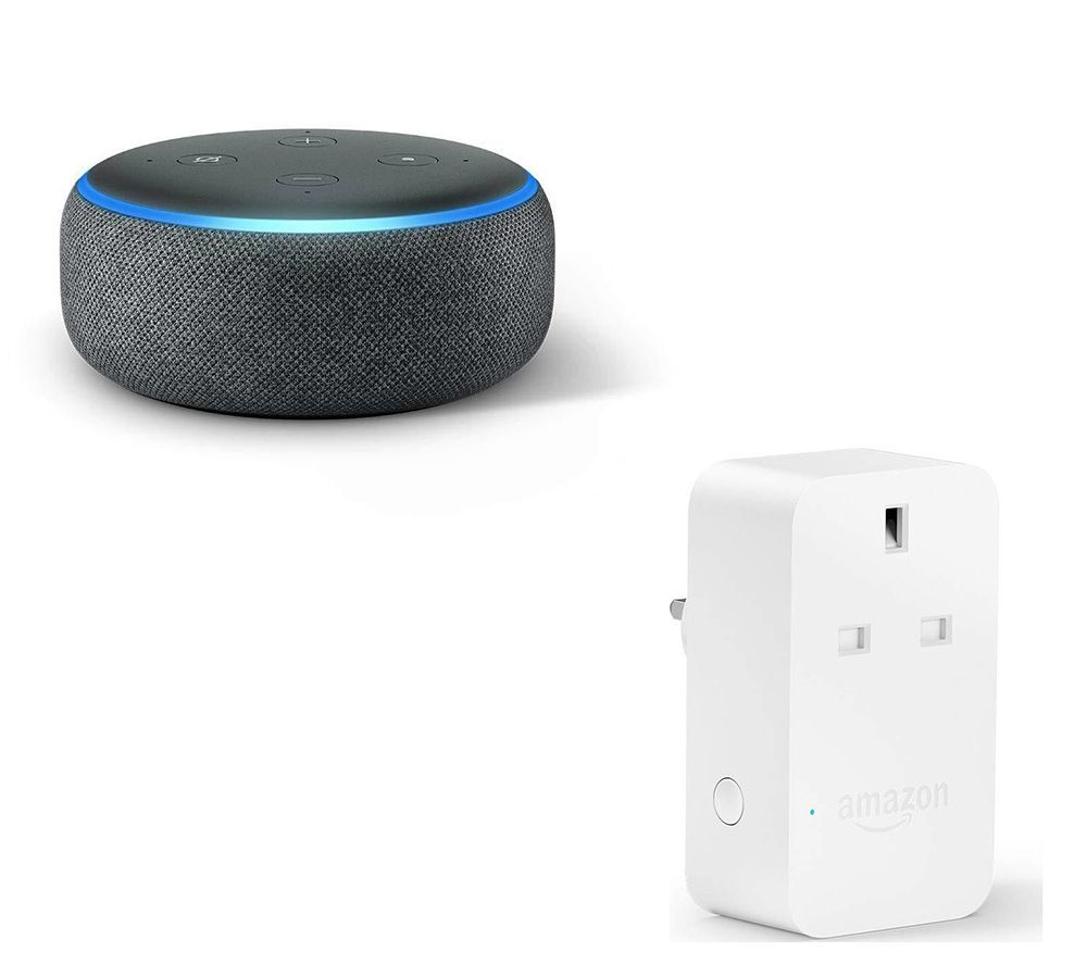 AMAZON Echo Dot (2018) & Smart Plug Bundle - Charcoal