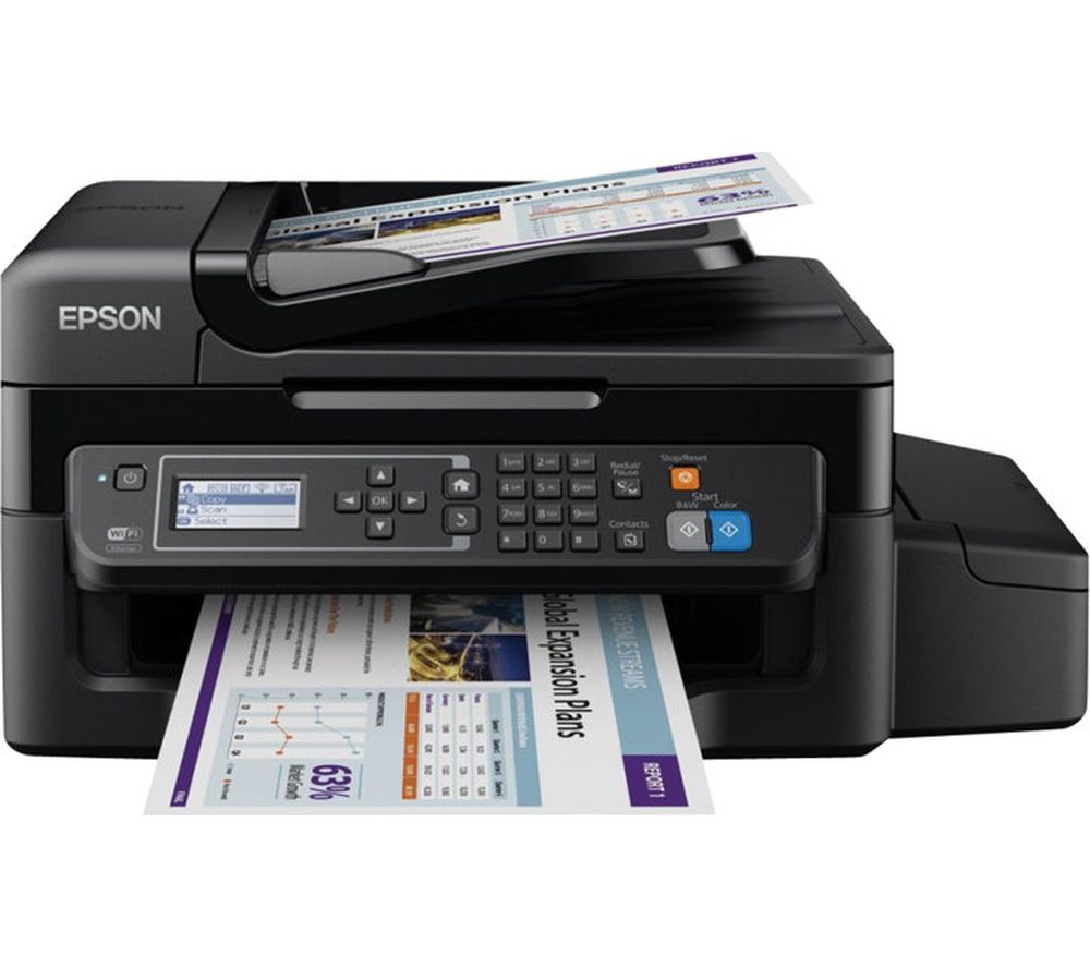 EPSON EcoTank ET-4500 All-in-One Wireless Inkjet Printer with Fax & 2 Years Unlimited Printing Card Bundle