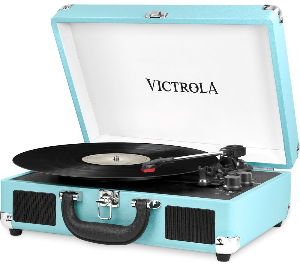 Image of VSC 550BT Portable Belt Drive Bluetooth Turntable - Turquoise, Turquoise