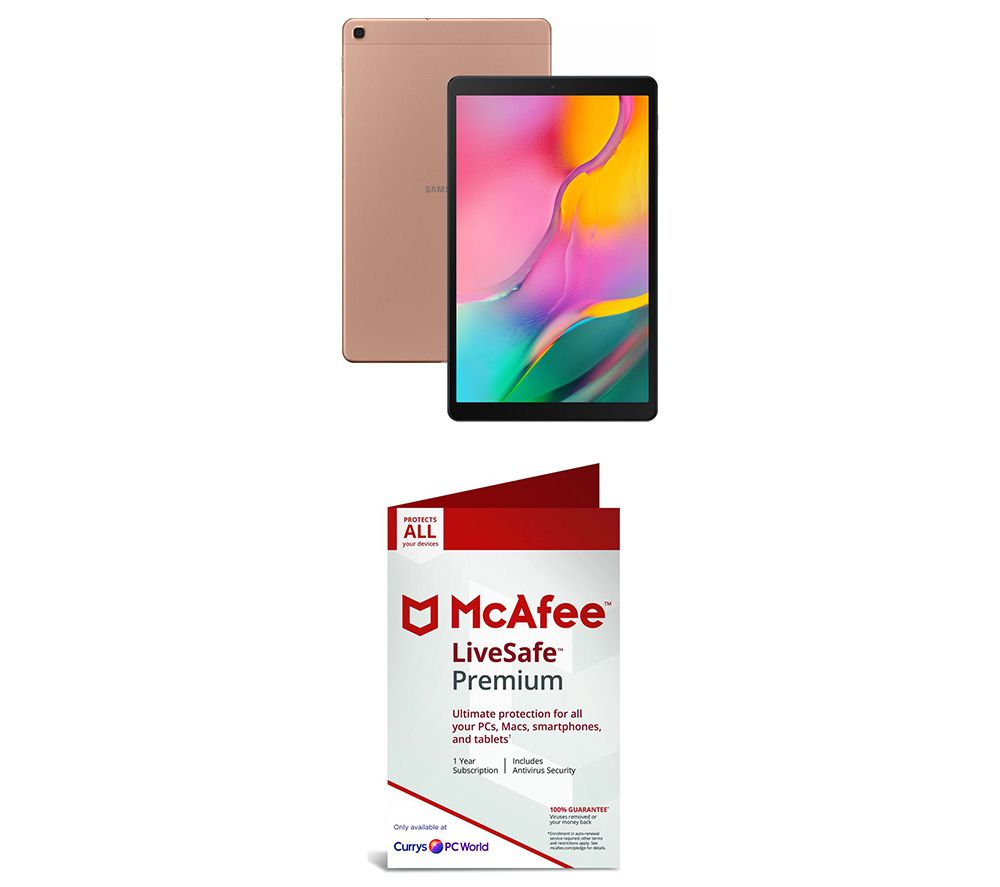 "SAMSUNG Galaxy Tab A 10.1"" Tablet (2019) & LiveSafe Premium 2019 Bundle - Gold"