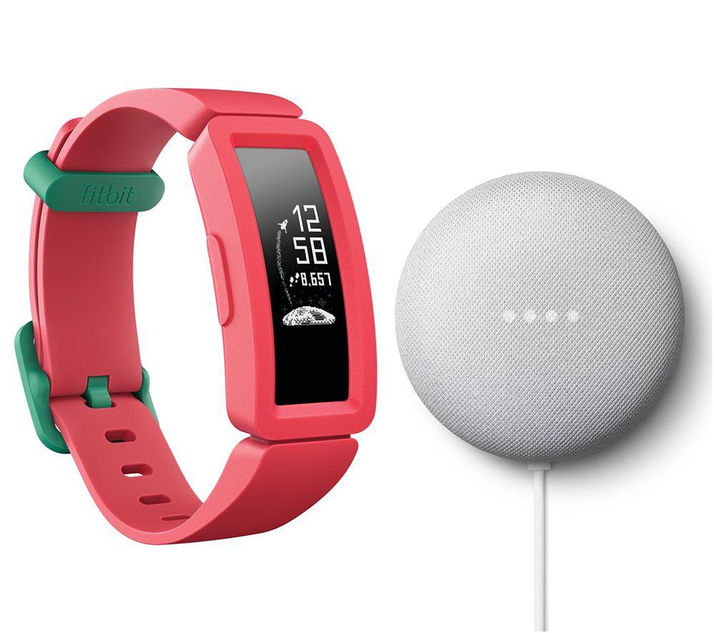FITBIT Ace 2 Kids Fitness Tracker & Nest Mini (2nd Gen) Chalk Bundle - Watermelon & Teal, Teal