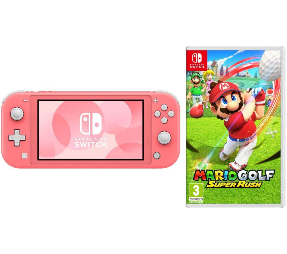 NINTENDO Switch Lite Coral & Mario Golf: Super Rush