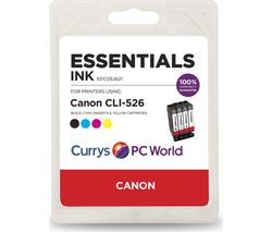 ESSENTIALS C526 Cyan, Magenta, Yellow & Black Canon Ink Cartridges - Multipack