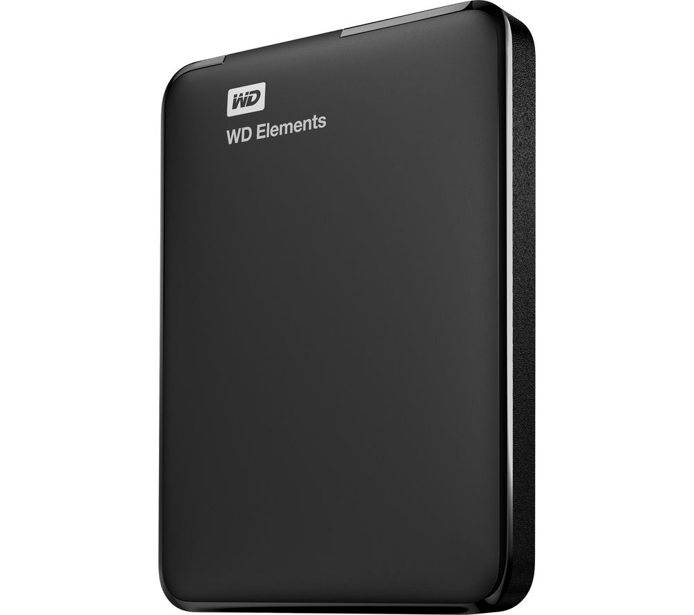 WD  Elements Portable Hard Drive - 1 TB, Black, Black