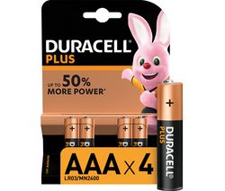 DURACELL AAA Plus Alkaline Batteries - Pack of 4