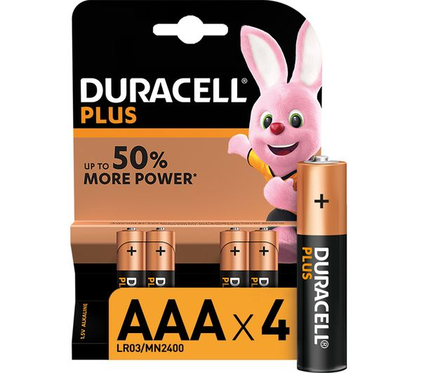 Image of DURACELL AAA Plus Alkaline Batteries - Pack of 4