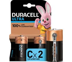 DURACELL LR14/MX1400 Ultra Power C Alkaline Batteries - Pack of 2