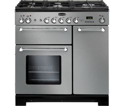 RANGEMASTER Kitchener 90 Dual Fuel Range Cooker - Stainless Steel & Chrome