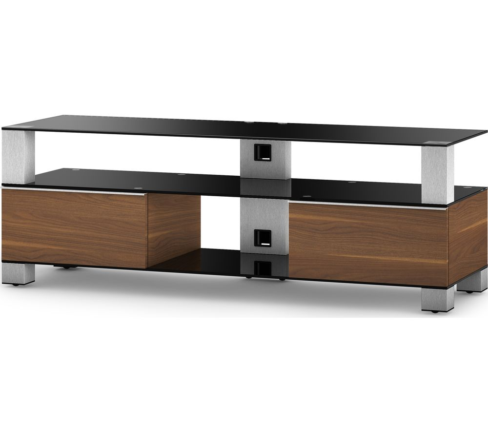 Image of SONOROUS Mood 9140 1400 mm TV Stand - Black, Walnut & Silver, Black