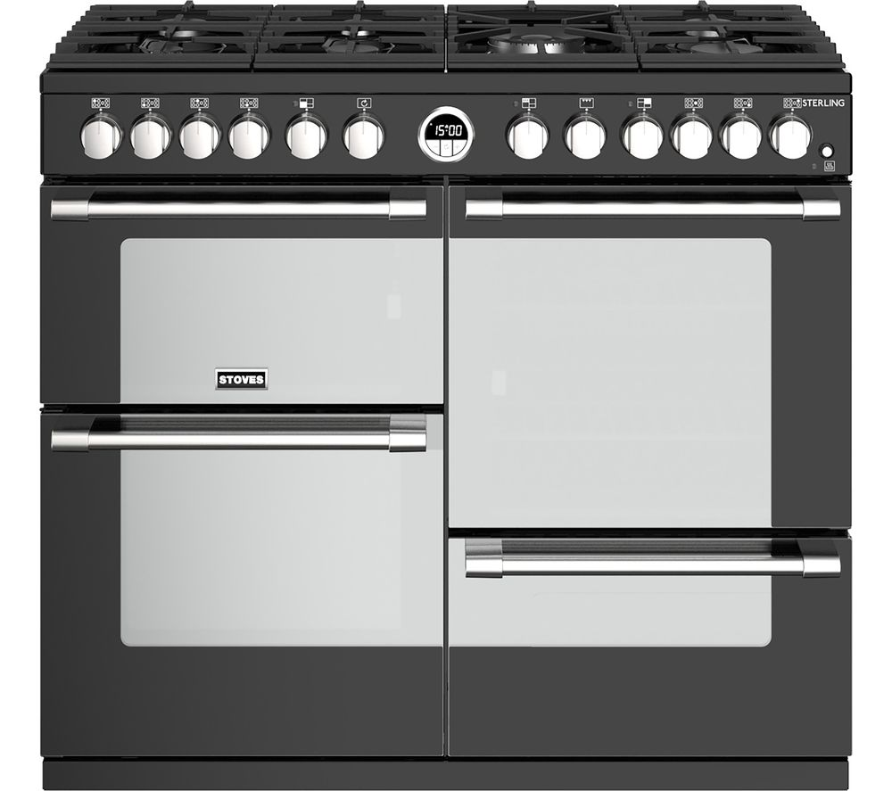 STOVES Sterling S1000DF BK 100 cm Dual Fuel Range Cooker - Black