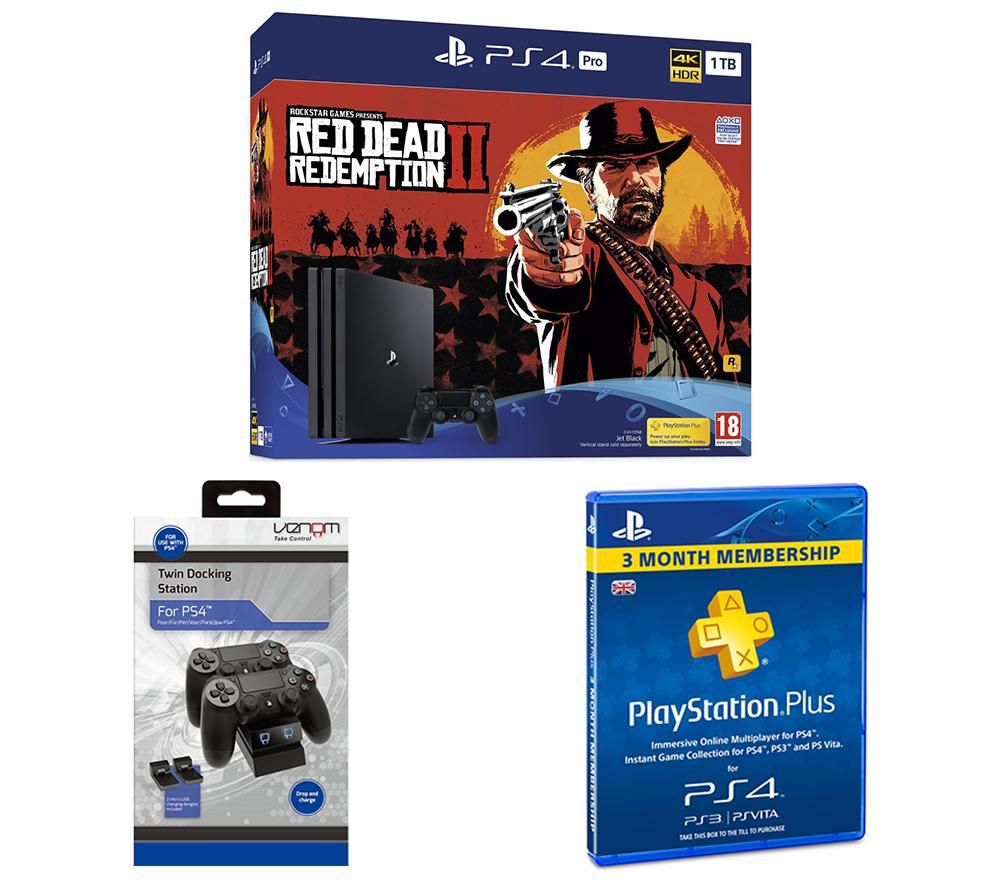 PlayStation 4 Pro, Red Dead Redemption 2, Docking Station & PlayStation Plus Bundle, Red
