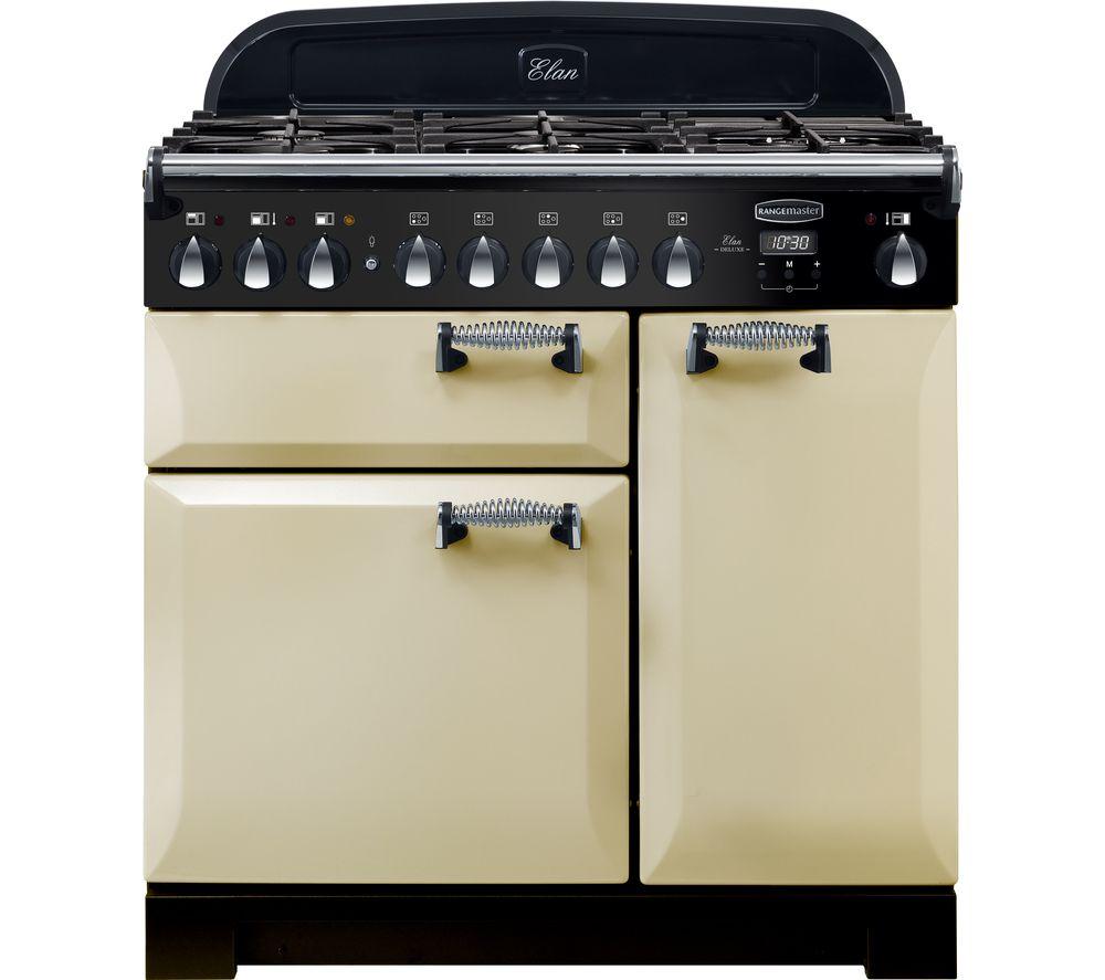 RANGEMASTER Elan Deluxe ELA90DFFCR 90 cm Dual Fuel Range Cooker - Cream & Chrome