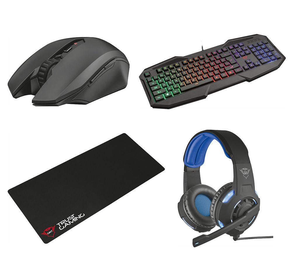 TRUST Macci Wireless Optical Gaming Mouse, 830-RW Avonn Gaming Keyboard, Radius 7.1 Gaming Headset & Gaming Surface Bundle