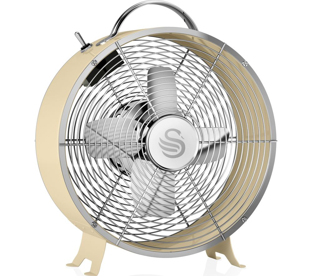 "SWAN Retro SFA12630CN Portable 8"" Desk Fan - Cream"