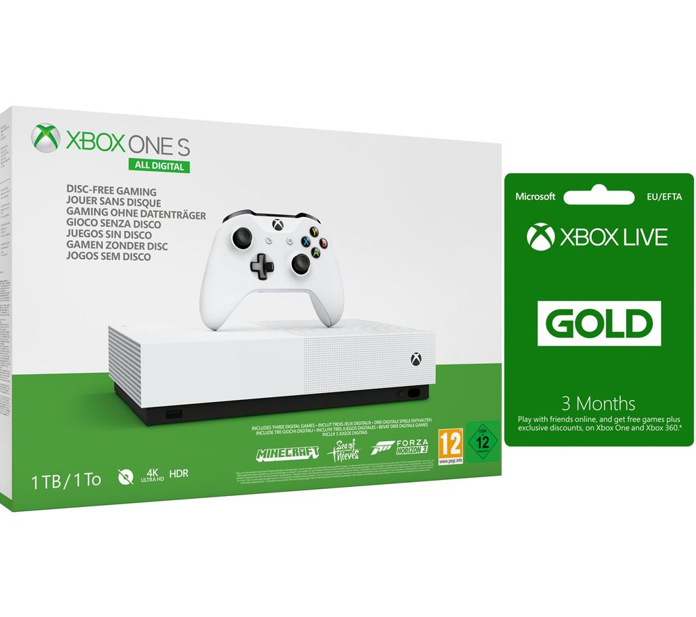 MICROSOFT Xbox One S All-Digital Edition with Minecraft, Forza Horizon 3,  Sea of Thieves & 3 Months Xbox LIVE Gold Subscription