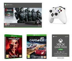 MICROSOFT Xbox One X with Gears 5, Tekken 7, Project Cars 2, Wireless Controller & Game Pass Ultimate Bundle