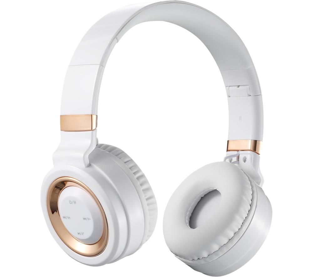 VOLKANO Lunar Series VK-2004-WTGD Wireless Bluetooth Headphones - White & Gold
