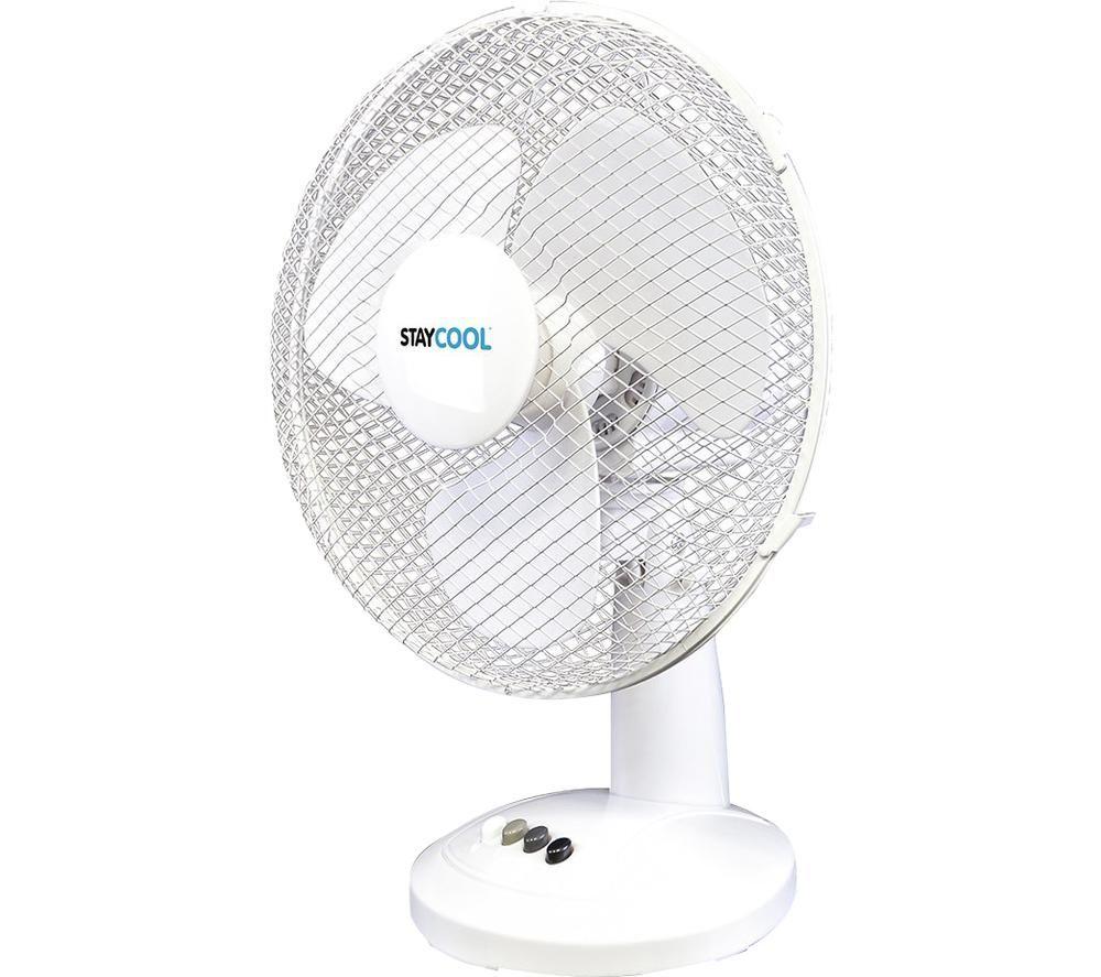 """LLOYTRON StayCool F1011WH 12"""" Desk Fan - White"""