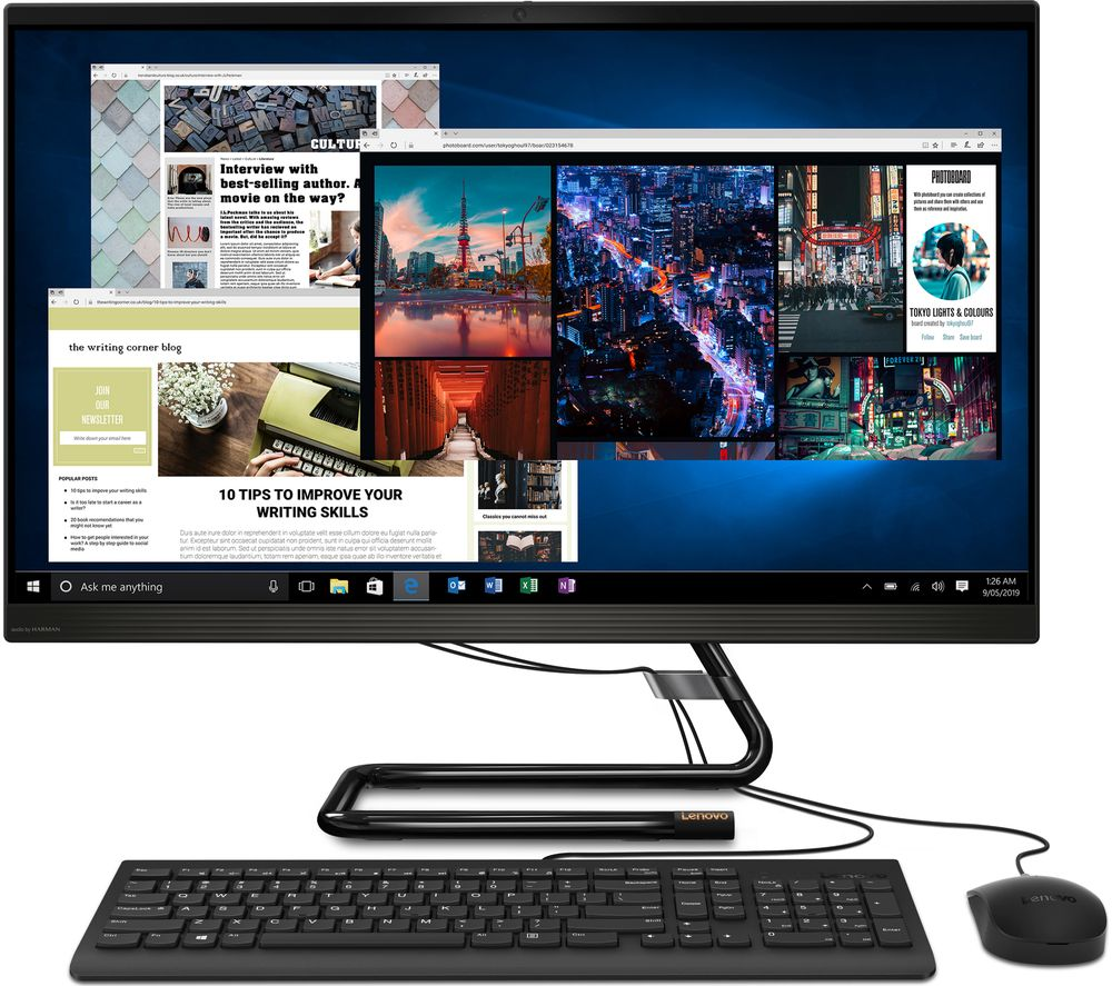 "Image of LENOVO IdeaCentre AIO 3i A340 27"" All-in-One PC - Intel®Core™ i3, 1 TB HDD & 128 GB SSD, Black, Black"