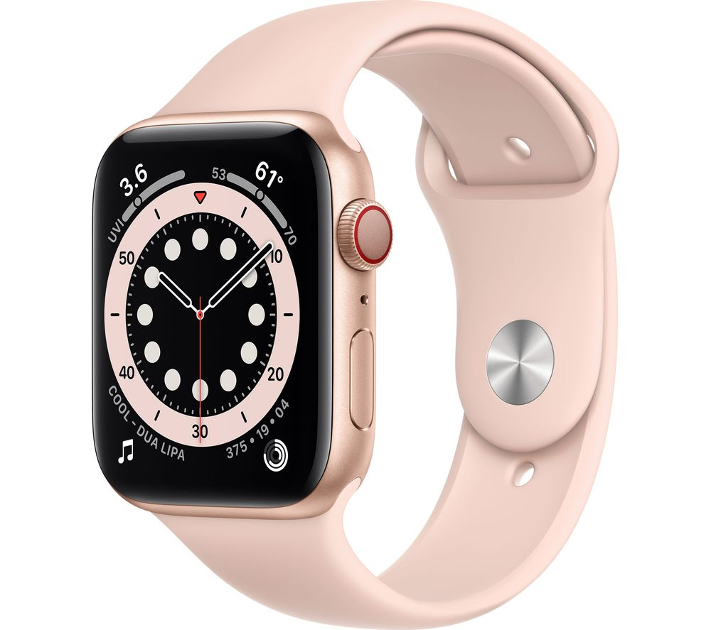 APPLE Watch Series 6 Cellular - Gold Aluminium with Pink Sand Sports Band, 44 mm