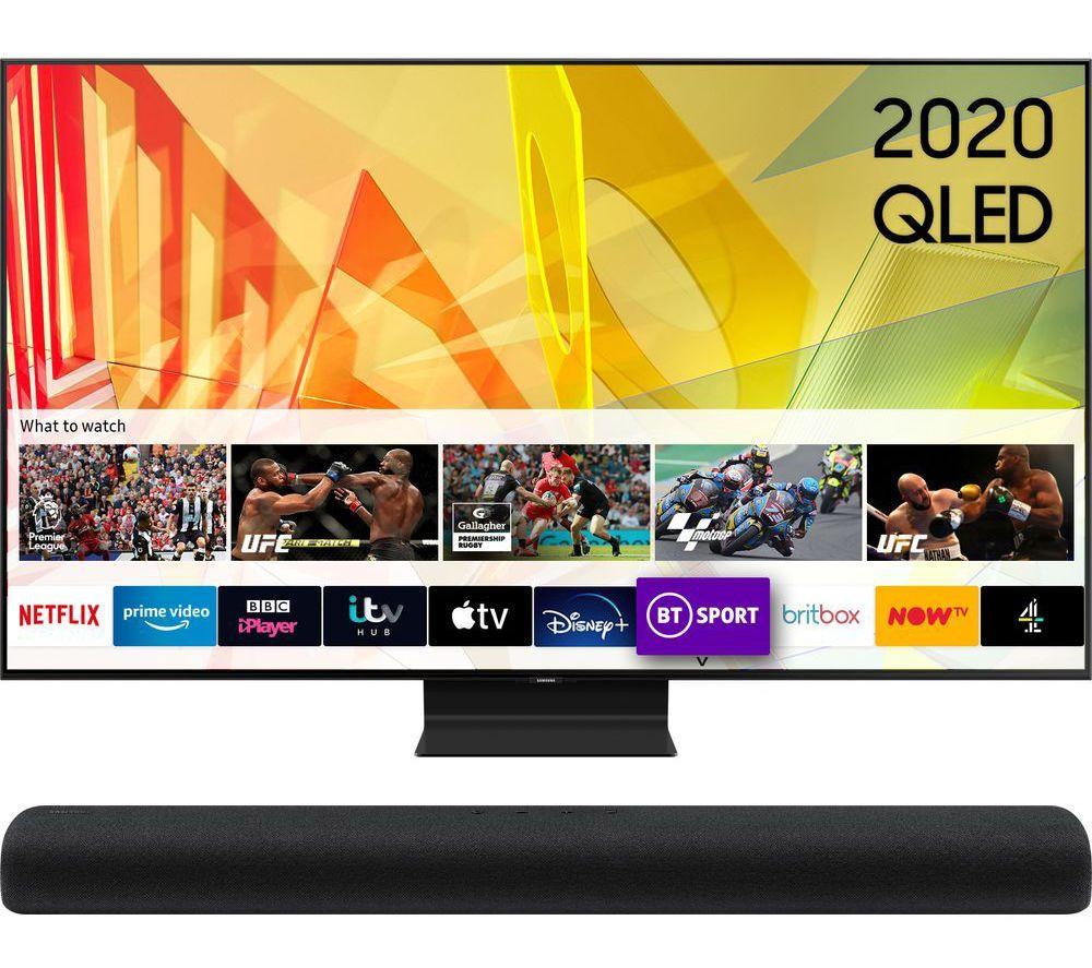 "85"" SAMSUNG QE85Q95TATXXU Smart 4K Ultra HD HDR QLED TV & HW-S60T/XU 4.0 All-in-One Sound Bar Bundle"