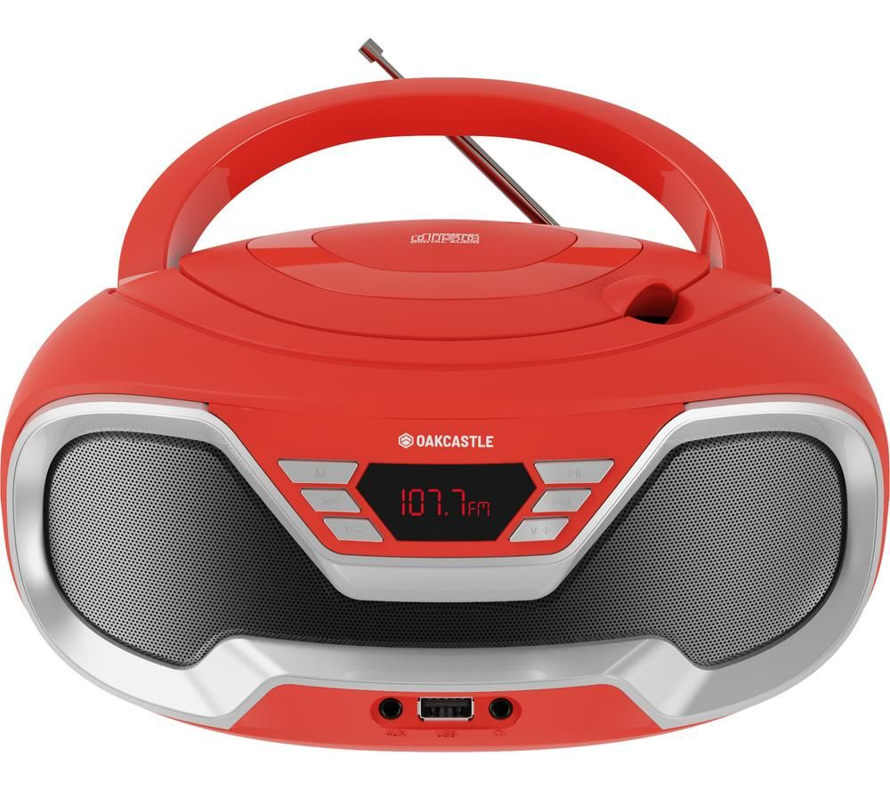 Image of OAKCASTLE CD200 FM Bluetooth Boombox - Red, Red