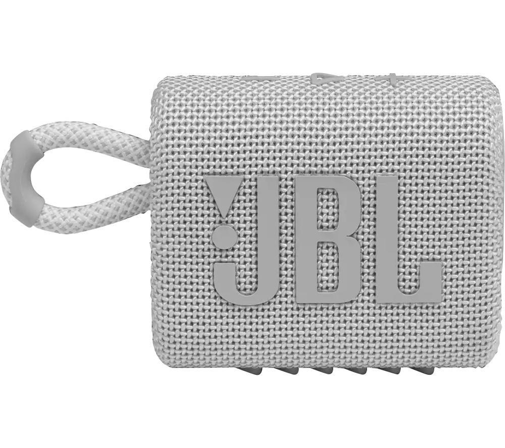 JBL GO3 Portable Bluetooth Speaker - White, White