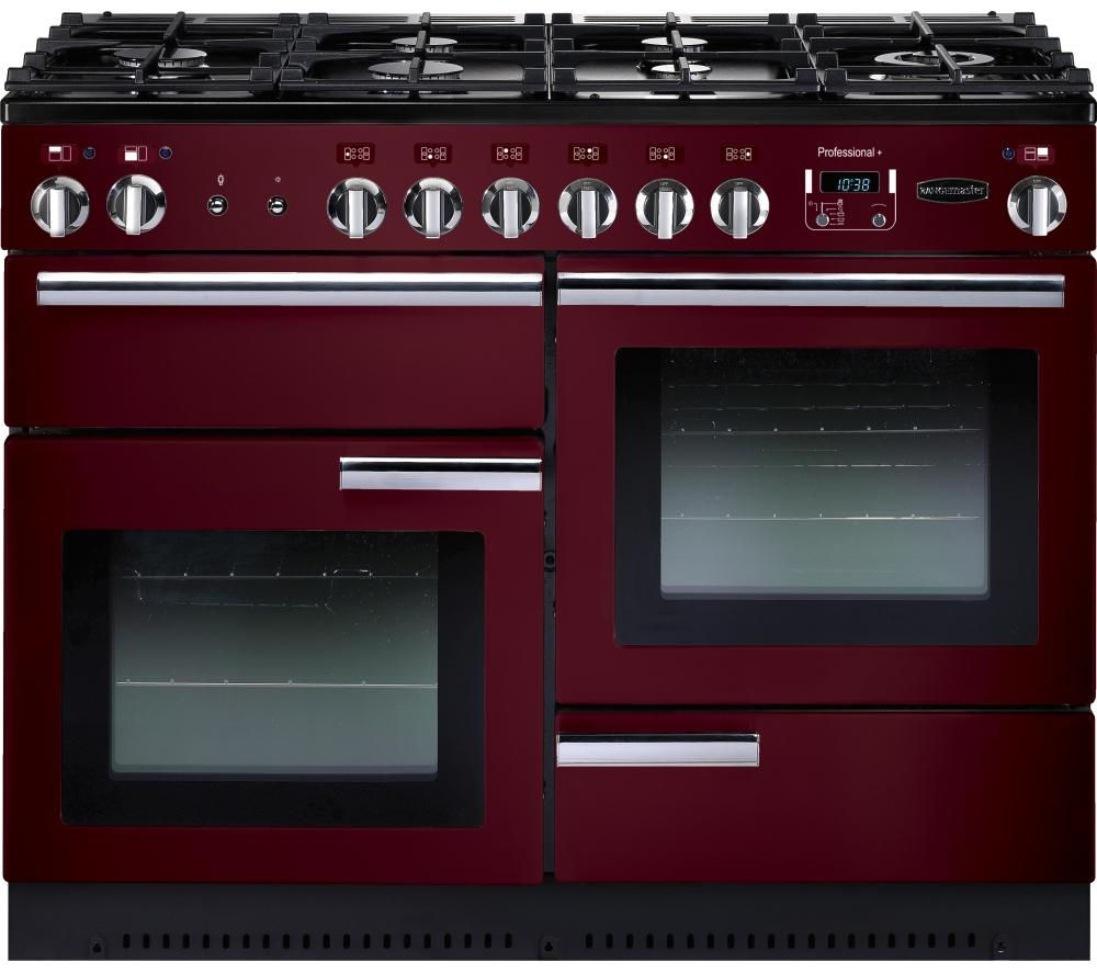 Image of RANGEMASTER Professional 110 Dual Fuel Range Cooker - Cranberry & Chrome, Cranberry