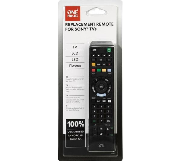 one for all remote codes sony bravia
