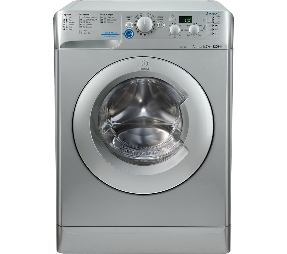 buy indesit innex xwd71252s washing machine silver free delivery currys. Black Bedroom Furniture Sets. Home Design Ideas