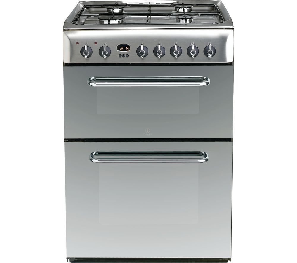 INDESIT KDP60SES 60 cm Dual Fuel Cooker - Mirror & Stainless Steel