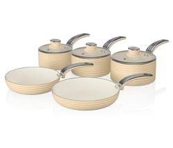 Retro 5-piece Non-stick Pan Set - Cream