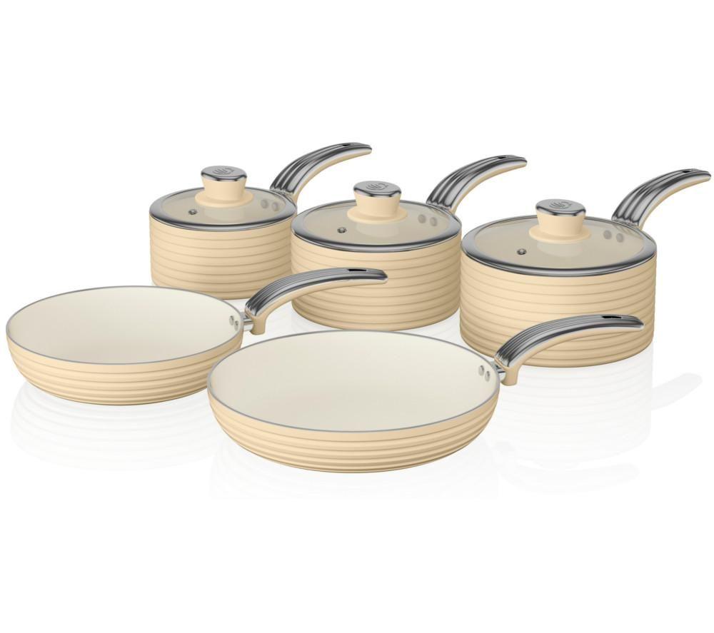 Image of SWAN Retro 5-piece Non-stick Pan Set - Cream, Cream