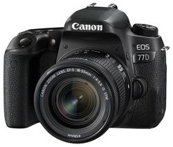 CANON EOS 77D DSLR Camera with 18-55 mm f/4-5.6 Lens - Black