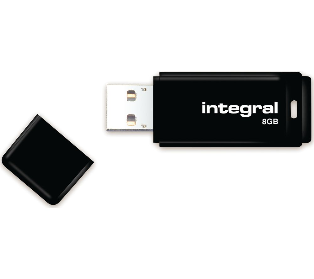 INTEGRAL USB 2.0 Memory Stick - 8 GB, Black, Black
