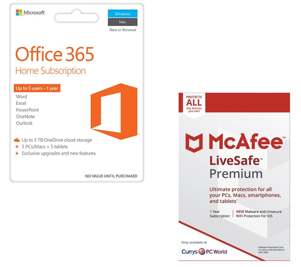 mcafee office 365 home livesafe premium bundle deals pc world. Black Bedroom Furniture Sets. Home Design Ideas