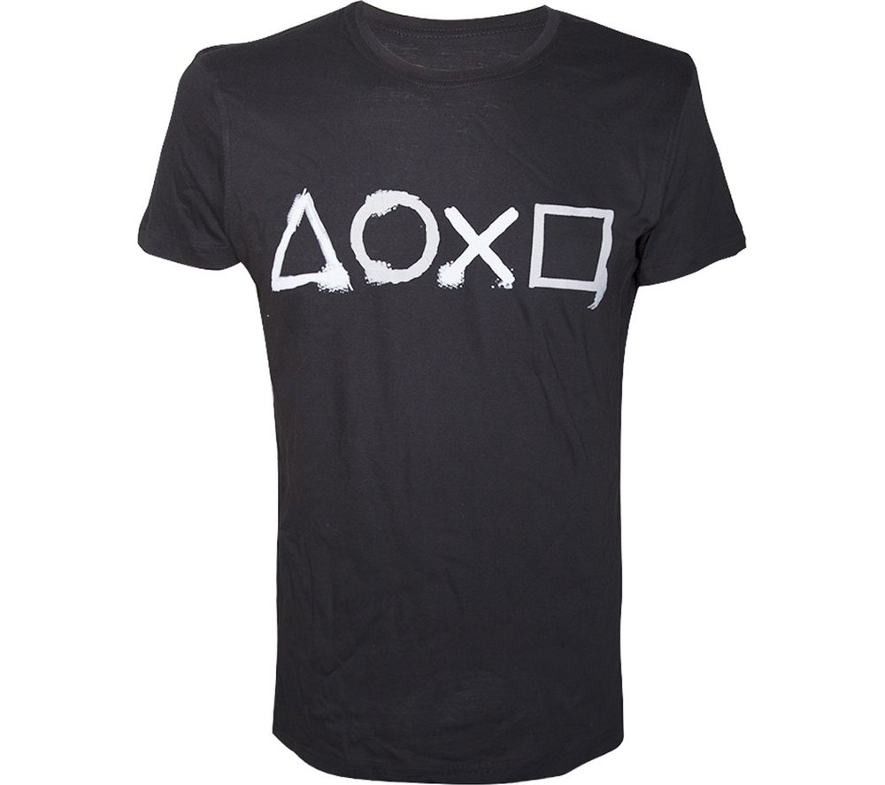 Photo of Playstation buttons artwork printed t-shirt - large- black- black