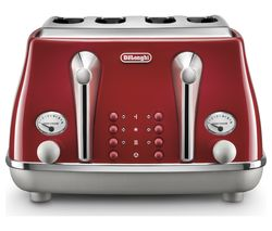 DELONGHI Icona Capitals CTOC4003.R 4-Slice Toaster - Red