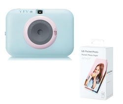 Pocket Photo PC389S Instant Camera & Photo Paper Bundle - Blue