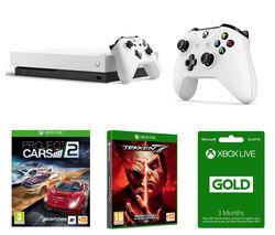 MICROSOFT Xbox One X, Tekken 7, Project Cars 2, LIVE Gold Membership & Wireless Controller Bundle