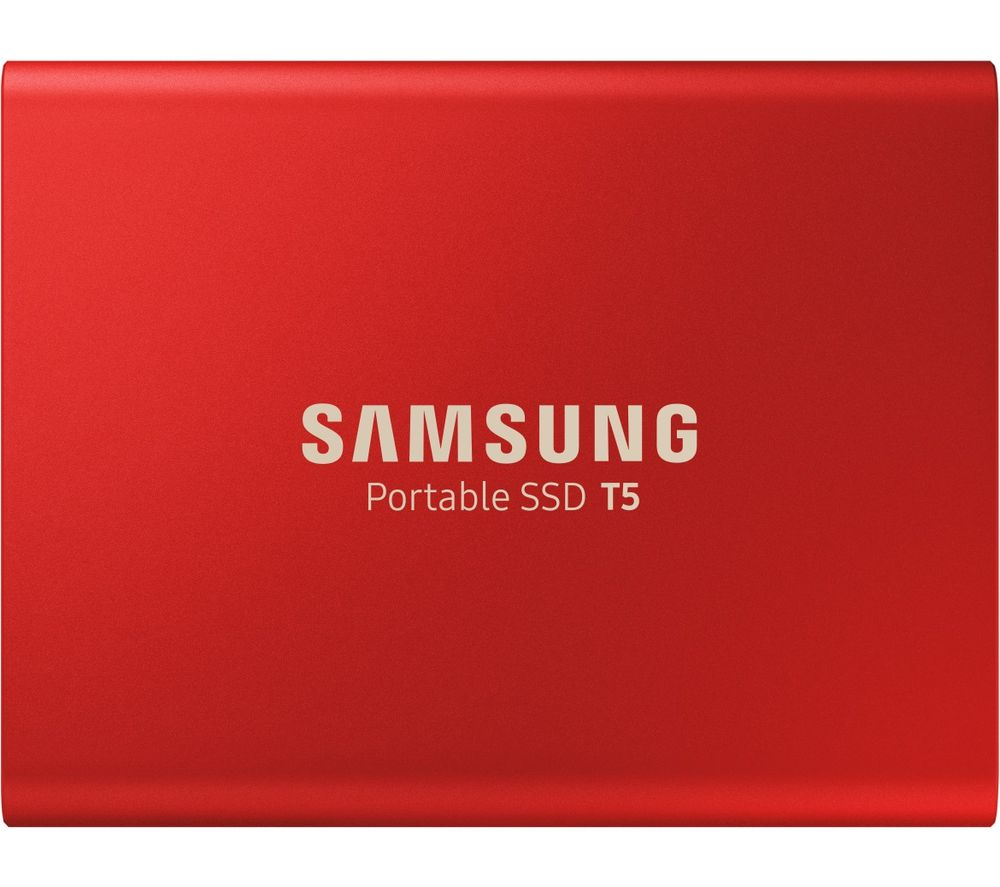 Image of Samsung Portable T5 External SSD hard drive 1 TB Red USB-C™ USB 3.1