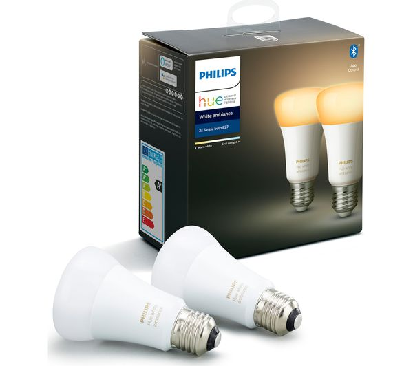 Image of PHILIPS HUE White Ambiance Bluetooth LED Bulb - E27, Twin Pack