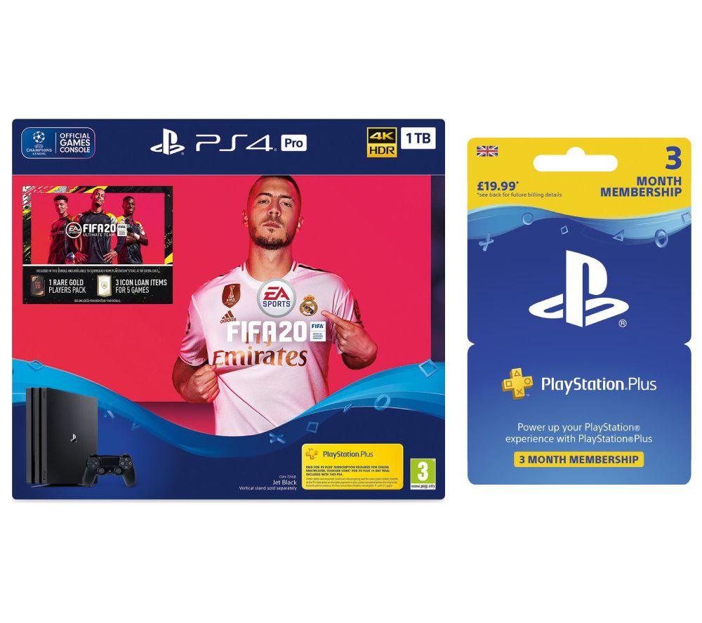 SONY Playstation 4 Pro, FIFA 20 & Playstation Plus Bundle - 1 TB