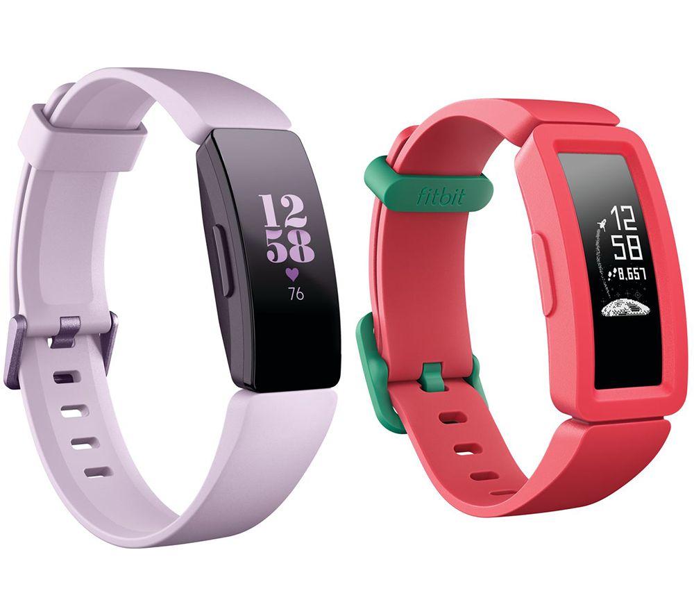 FITBIT Inspire HR Fitness Tracker & Ace 2 Kids Fitness Tracker Bundle - Lilac & Watermelon, Teal